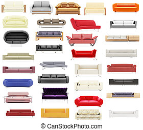 Collection of isolated sofas - Isolated collage of sofa over...