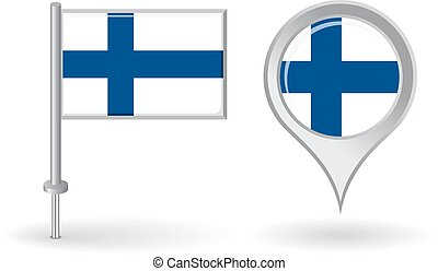 Finnish pin icon and map pointer flag. Vector illustration.
