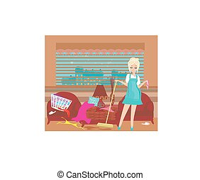 housewife cleans up the mess