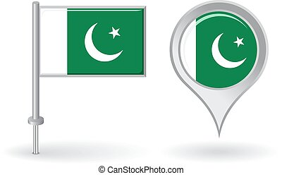 Pakistani pin icon and map pointer flag. Vector...