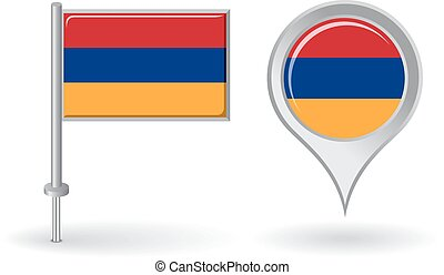 Armenian pin icon and map pointer flag. Vector illustration.