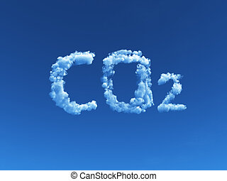 cloudy co2 - clouds forms the symbol co2 - 3d illustration