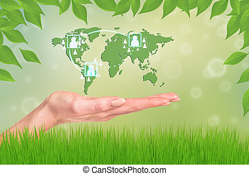 World in your hands Abstract Green Grass