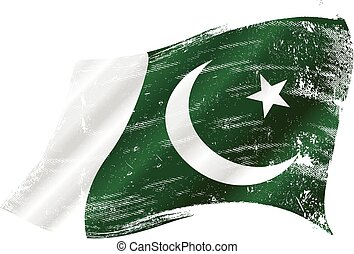 Pakistani grunge flag - flag of Pakistan in the wind with a...