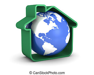 Earth Sweet Home - Globe inside a green house isolated on...