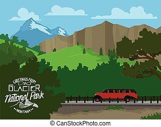 Touring Glacier National Park - Vector illustration of...