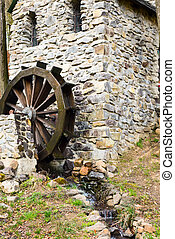 Stone watermill, spring, Carpathians