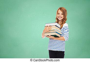Feliz, pequeno, estudante, menina, com, muitos, LIVROS,
