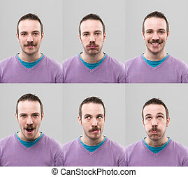 useful headshots - young man with different facial...