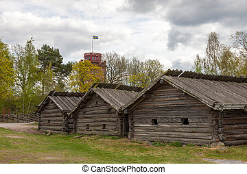 typical swedish wooden houses - farmhouse yard, stockholm -...