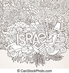 Israel hand lettering and doodles elements background....