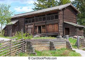 typical swedish wooden house - farmhouse yard, stockholm -...