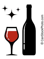 wine glass and bottle with star - wine glass and bottle...