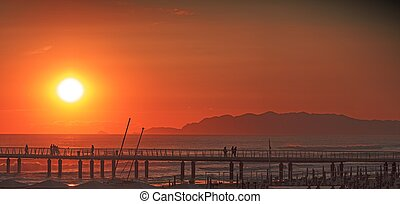 Versilia sunset - View of a Versilia sunset Sea and...