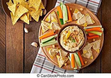 hummus with vegetables - Healthy homemade hummus with...
