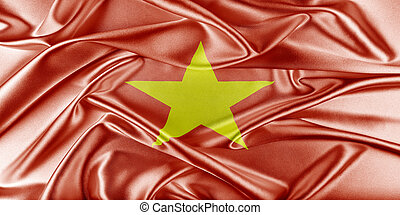 Vietnam Flag. Flag with a beautiful glossy silk texture.