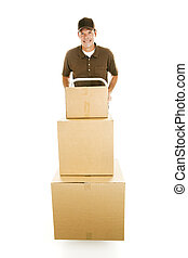 Mover with Boxes - Mover or delivery man hauling a stack of...