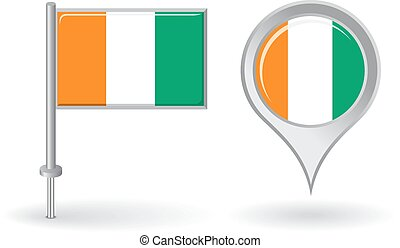 Cote d Ivoire pin icon and map pointer flag. Vector - Cote...