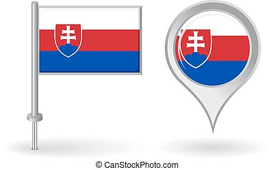 Slovak pin icon and map pointer flag Vector illustration