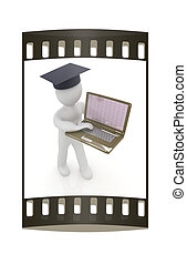 3d man in graduation hat with laptop. The film strip - 3d...