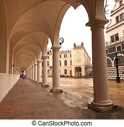 Colonnade at the Castle Stallhof in Dresden, Germany