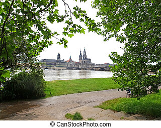 Dresden - View of the old town of Dresden, Saxony, Germany