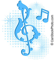 Treble Clef - Design elements with treble clef. EPS 8, AI,...