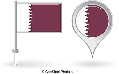 Qatari pin icon and map pointer flag Vector illustration