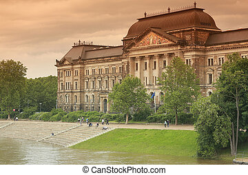 Ministry of Finance buildings over Elbe river in Dresden,...