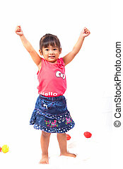 Asian girl  playing with toy on white background
