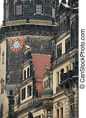 Dresden - Old clock on tower in Dresden