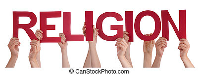 People Hands Holding Red Straight Word Religion - Many...