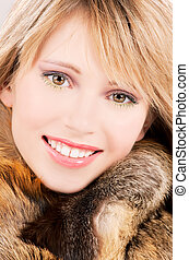 lovely teenage girl in fur - picture of lovely teenage girl...