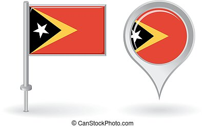 Timor-Leste pin icon and map pointer flag Vector...