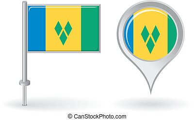 Saint Vincent and the Grenadines pin icon, map pointer flag....