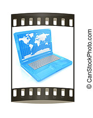 Laptop with world map on screen. The film strip