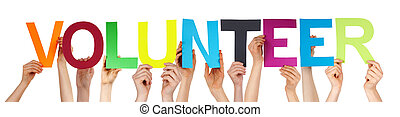People Hand Hold Colorful Straight Word Volunteer - Many...