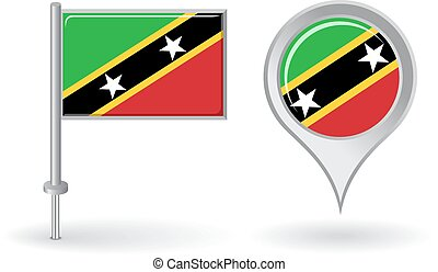 Saint Kitts and Nevis pin icon, map pointer flag. Vector