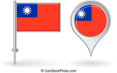 Burma pin icon and map pointer flag Vector illustration