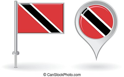Trinidad and Tobago pin icon, map pointer flag Vector...