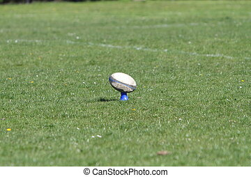 Rugby ball on a tee