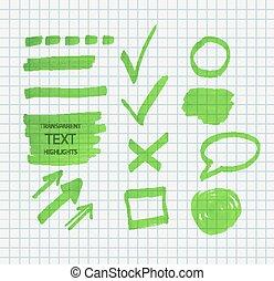 Transparent highlighter marks - Vector set of transparent...