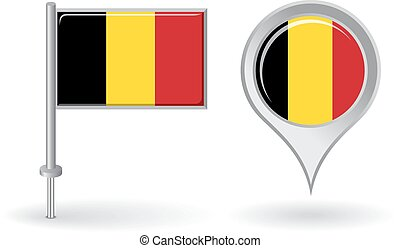 Belgian pin icon and map pointer flag Vector illustration