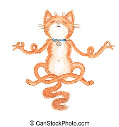 Watercolor vector cat - Vector illustration of hand drawn...