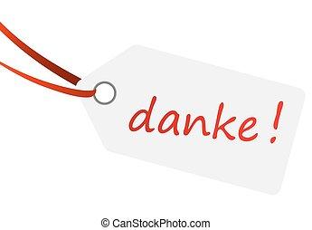 hangtag with text DANKE !