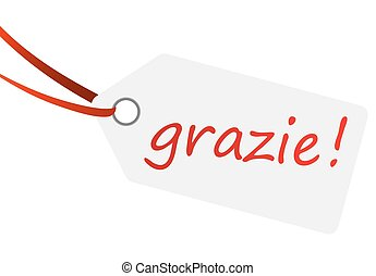 hangtag with text GRAZIE