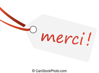 hangtag with text MERCI !