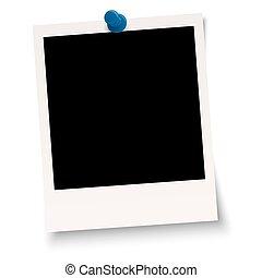 em branco, polaroid, com, alfinete, agulha,