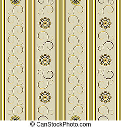 Grey floral stripes background (vector) - Gentle grey floral...
