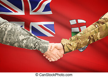 Military handshake and Canadian province flag - Manitoba -...